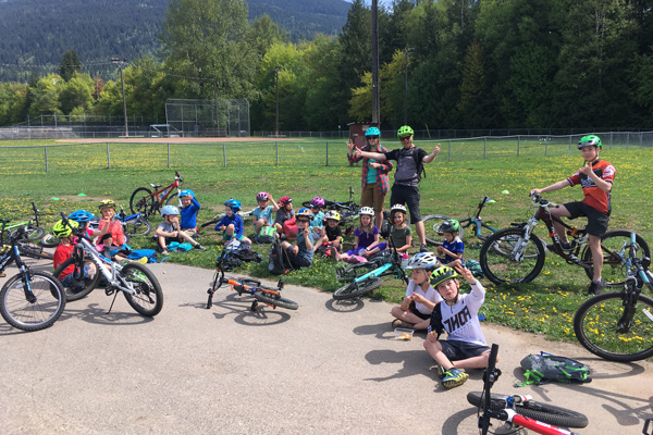 Kids Camp group riding trail